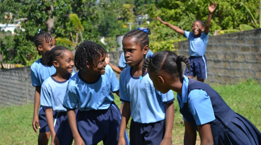 Children gearing up for a run at the opposition as part of their physical training class